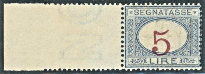 Italië Koninkrijk 1903 - Postage due - 5 lire light blue and carmine with figure shifted to the bottom and wide margin - Sassone N. 30b