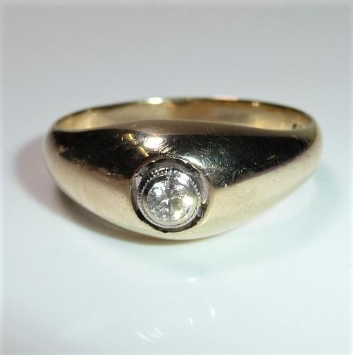 Handcrafted - 14 kt Gold - Ring - 0.12 ct Diamant