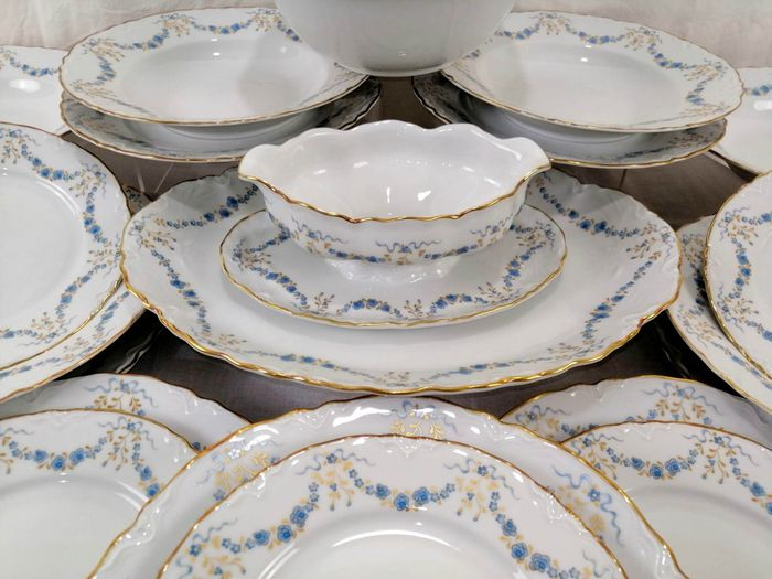 Racine Fontainebleau - Hutschenreuther - Vajilla para 6 (23) - Porcelana - Swags Of Blue Flowers, Gold Trim