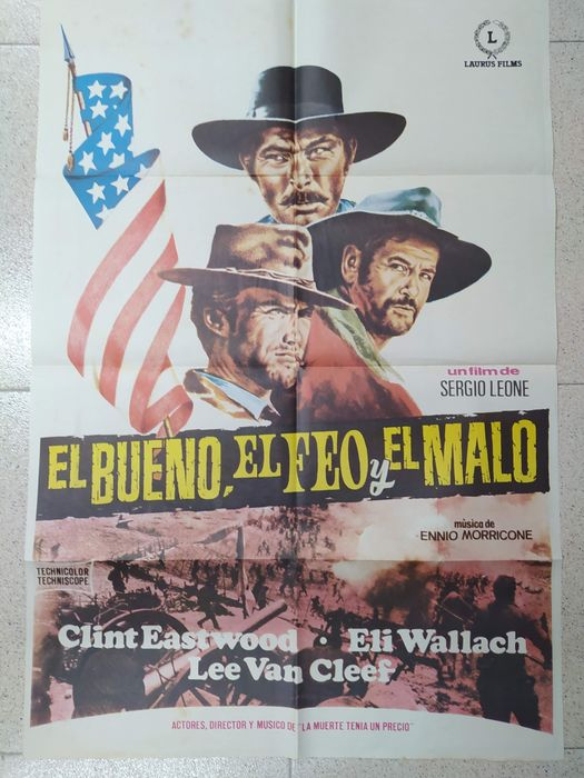 The Good, the Bad and the Ugly (1966) - Sergio Leone, Clint Eastwood - Póster, Original Spanish Cinema release - 100x70 cm