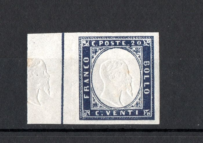 Italiaanse oude staten - Sardinië 1855/1863 - 20 cents indigo with effigy also stamped on the left margin - Sassone N. 15E