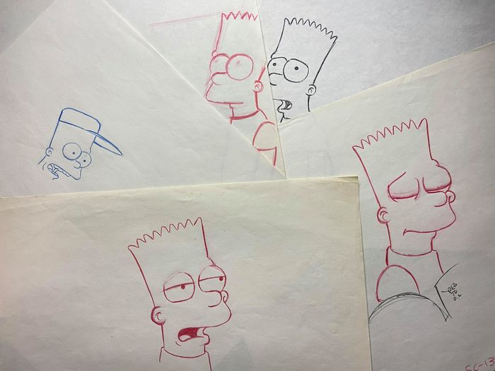 The Simpsons - Bart Simpson - Crepes of Wrath - Original Rough Layout Drawings x5