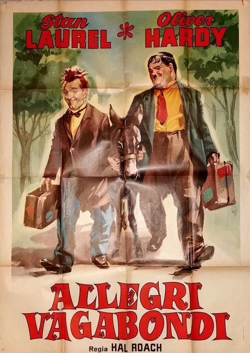 Way Out West - Stan Laurel & Oliver Hardy - Poster, Original Italian Cinema re-release 1964 - Manifesto 140x100 cm - Good Condition