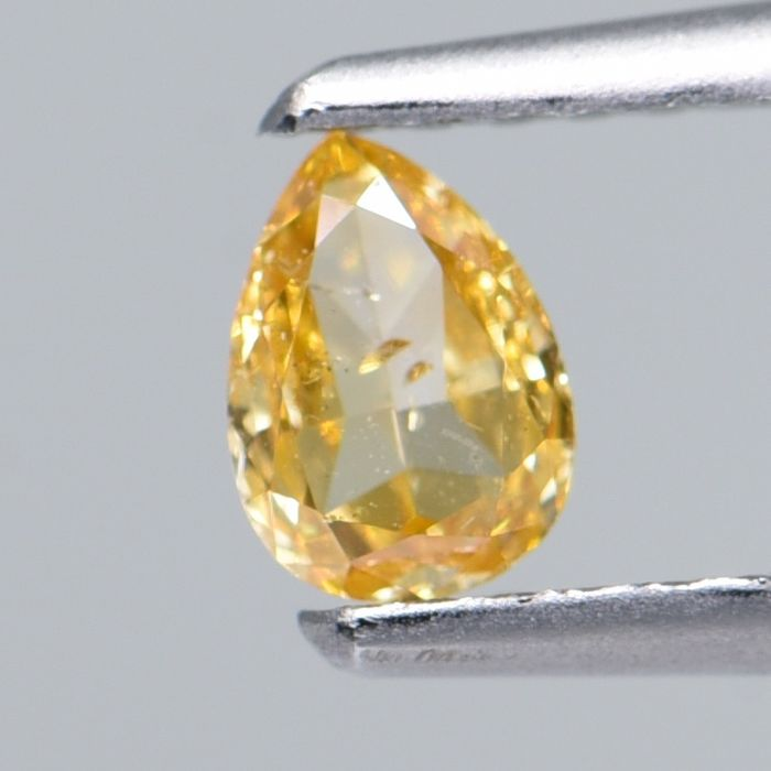 1 pcs Diamant - 0.22 ct - Poire - NATURAL FANCY BROWNISH YELLOW - SI2  IGI Antwerp Certified  ** No Reserve Price **