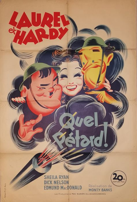 Great Guns (1941) - Stan Laurel & Oliver Hardy - Affiche, Original French Cinema release 1950's - 120x80 cm