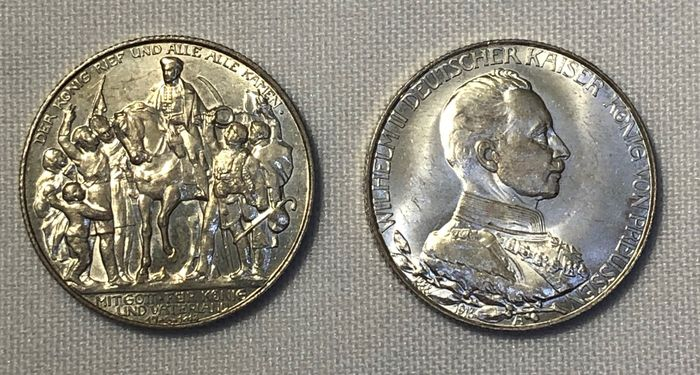 Germany, Prussia. Wilhelm II. (1888-1918). 2 Mark 1913, 2 Commemorative Coins 'Victory over Napoleon & 25th Reign Anniversary'
