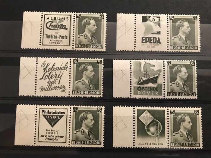 Belgien 1938 - Pubs with crossed lines and with perforation on all sides - OBP / COB PU137A/142A
