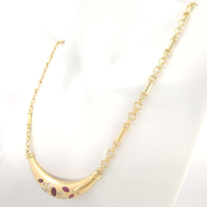 Image 3 of 18 kt. Yellow gold - Necklace - 0.62 ct Ruby - Diamonds