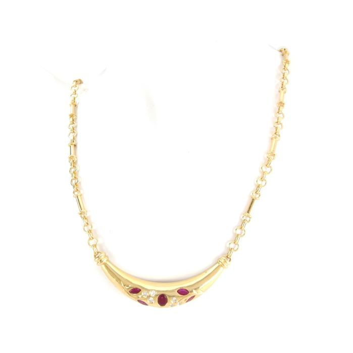 Image 2 of 18 kt. Yellow gold - Necklace - 0.62 ct Ruby - Diamonds