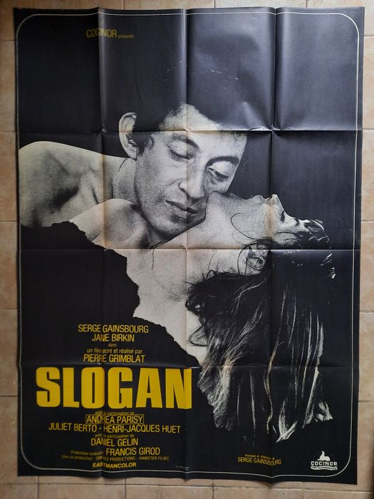 Slogan (1969) - Serge Gainsbourg, Jane Birkin - Poster, Original French Cinema release - 120x160 cm