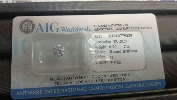 1 pcs Diamantes - 0.70 ct - Brillante - G - VVS2