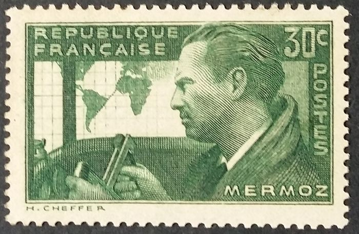 Frankrijk 1937/31 - Jean Mermoz, 30 centimes green-yellow, rare colour variety. - Yvert 337A