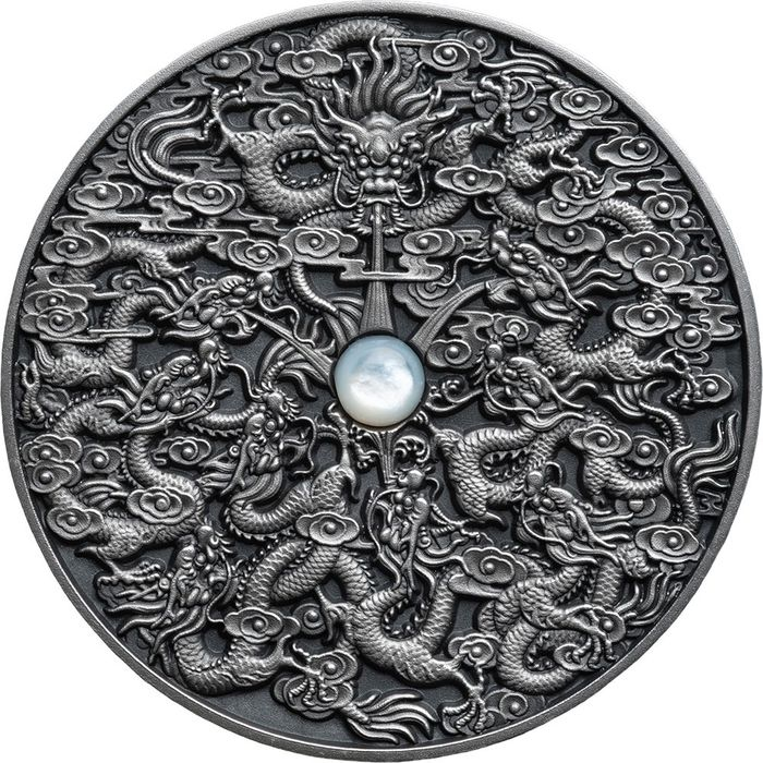 "Niue. 5 Dollars 2020 - ""NINE DRAGONS"" - Nove Draghi - Chinese Legends  - 2 Oz"