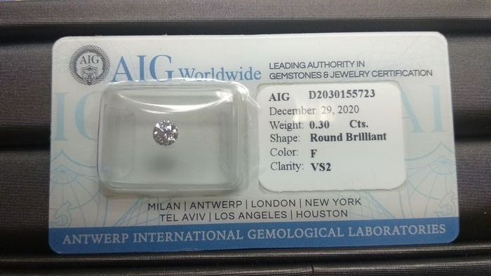 1 pcs Diamantes - 0.30 ct - Brillante - F - VS2