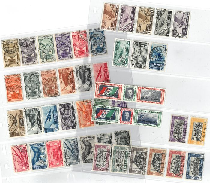 Italië 1927/1933 - Lot of colonies 1927-1933, 5 complete used sets, 44 total values - Sassone S.14, S.7, S.8, S.16, S.32