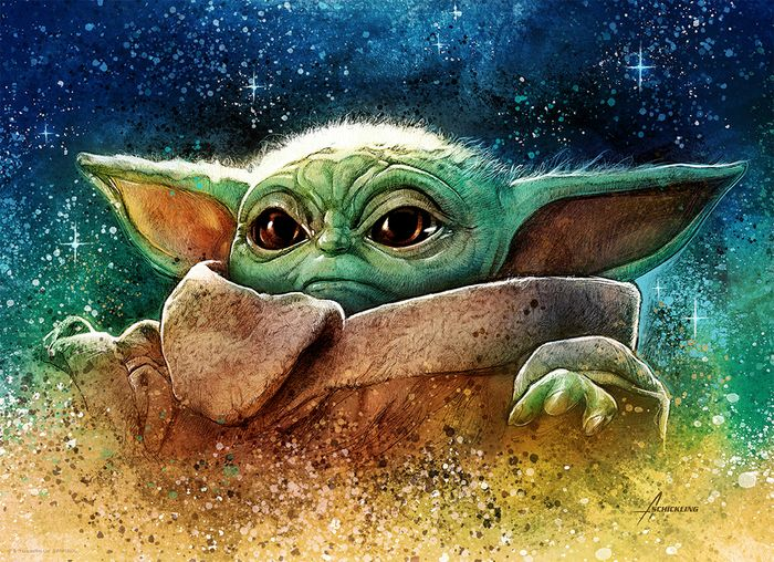 """Star Wars: The Mandalorian - Grogu """"The Child"""" (Baby Yoda) - """"The Highest Bounty"""" - Limited Edition, Numbered Lithograph by artist  Adam Schickling - COA"""