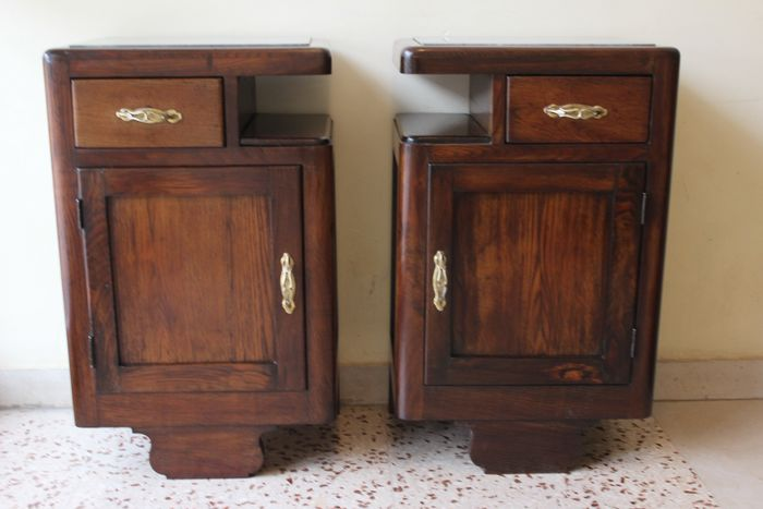 Image 3 of Pair of Art Deco bedside tables in solid wood