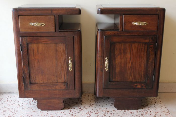 Preview of the first image of Pair of Art Deco bedside tables in solid wood.