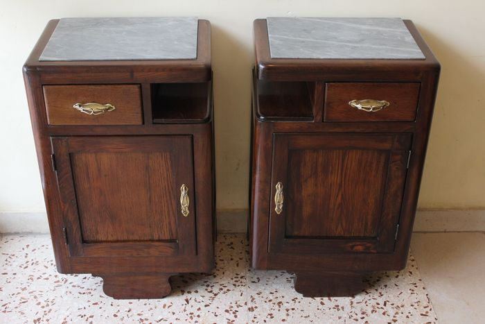 Image 2 of Pair of Art Deco bedside tables in solid wood