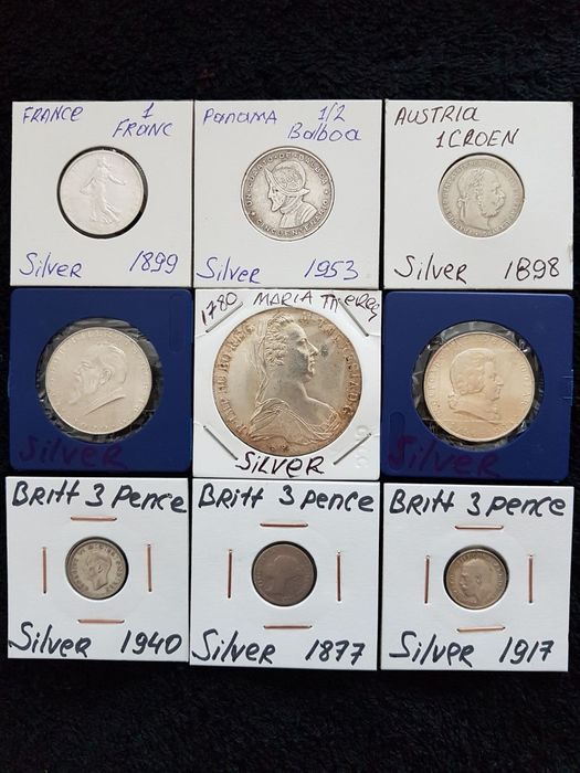 Welt. Lot various Worldcoins 1780/1940s (9 pieces)