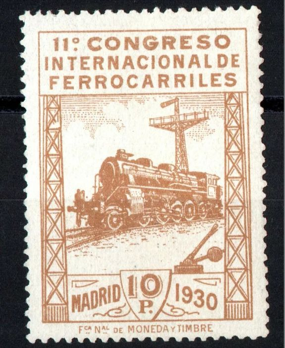 Spain 1930 - 11th International Railway Congress. Key value. CMF Certificate - Edifil 481