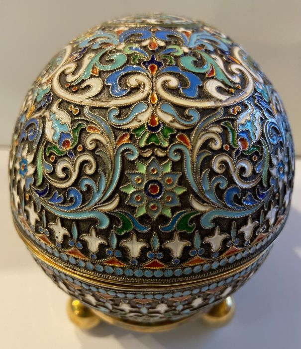 Image 3 of Cloisonne box egg - .875 (84 Zolotniki) silver - travail russe - Russia - Early 20th century