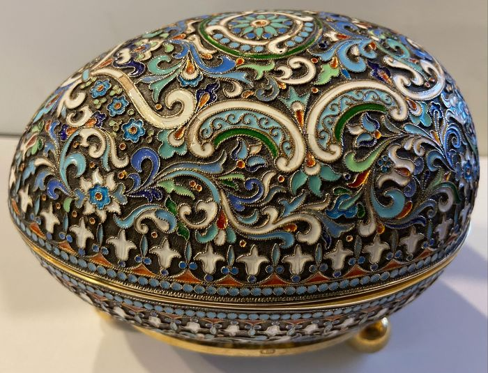 Image 2 of Cloisonne box egg - .875 (84 Zolotniki) silver - travail russe - Russia - Early 20th century