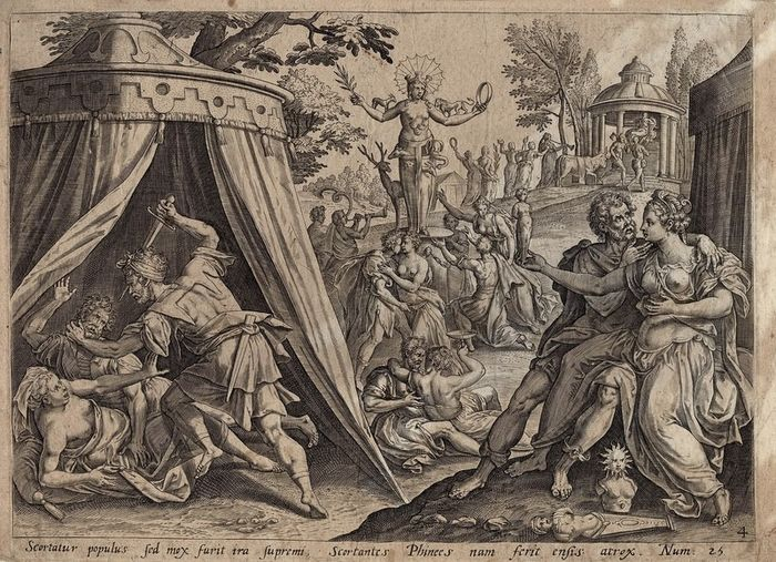 Preview of the first image of Maerten de Vos (1532-1603) after, Gerard de Jode (1509-1591) - The idolatry of Baal-Peor, Zimri and.