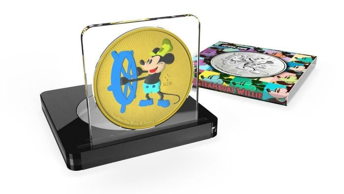 Niue. 2 Dollars 2017 Steamboat Willie - Andy Warhol - Yellow - 1 Oz