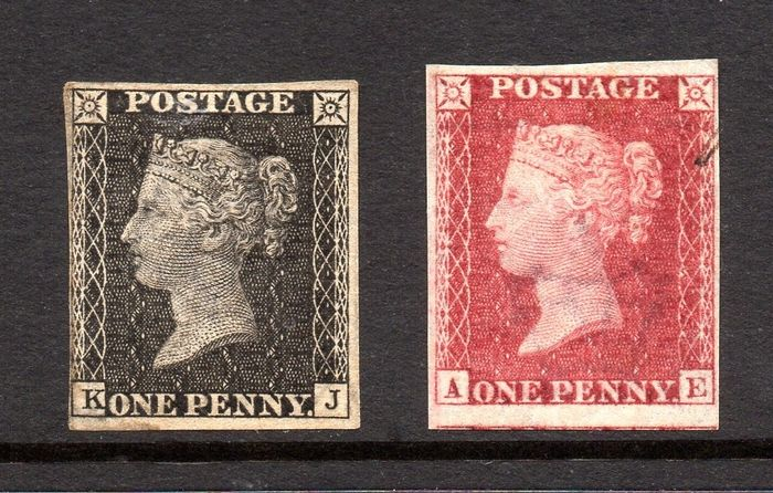 Great Britain - QV 1865 1d Royal Reprint Plate Proofs in Black and Carmine Rose   Plate 66 - Stanley Gibbons SG Spec DP35a / SG Spec DP35b