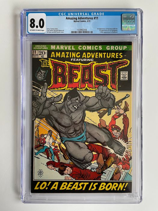 Amazing Adventures #11 - 1st Appearance Of The Beast With Fur - 1st Appearance Of Carl Maddicks - CGC Graded 8.0 - High Grade!! - Key Book!! - Softcover - Eerste druk - (1972)