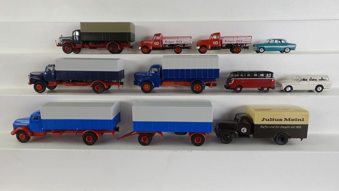 """Preview of the first image of Brekina 1:87 - 37124 - Model cars - 10 vehicles; including Truck with """"Kruger Pilz"""" imprint."""