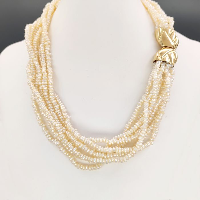 18 kt. White gold, Yellow gold - Necklace - River pearls