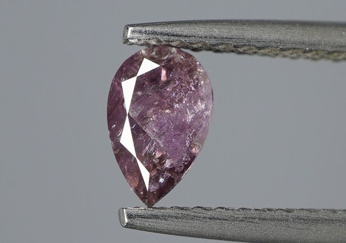 1 pcs Diamant - 0.39 ct - Poire - Natural Fancy Purplish Pink - I2- No Reserve