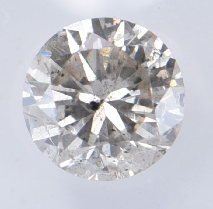 1 pcs Diamant - 1.05 ct - Rond - Natural Light Brownish Grey - I1, **No Reserve Price!**