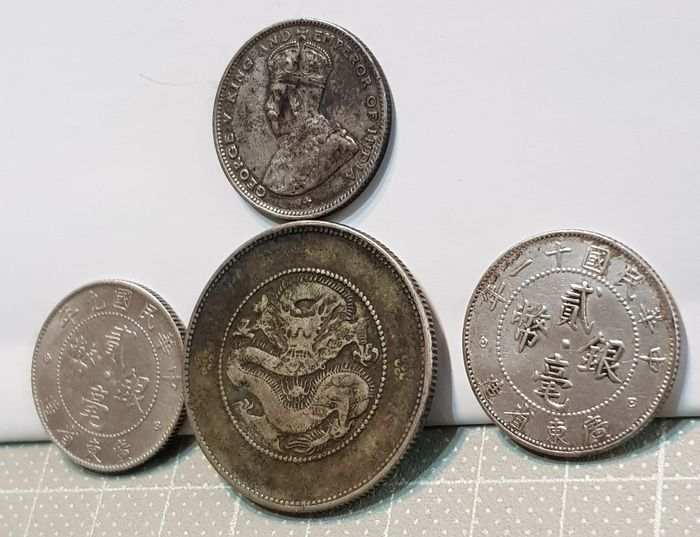 China, Straits Settlements - Lot comprising 4 AR coins - Republic of China, year 11&9(1919&1922) - Silver