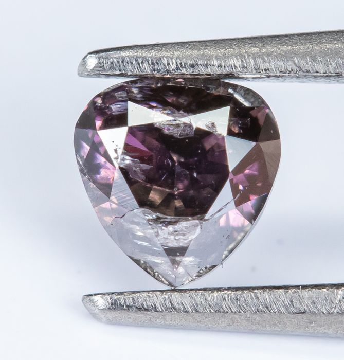Diamant - 0.11 ct - Natural Fancy Deep Purplish Pink -  I1 *NO RESERVE*