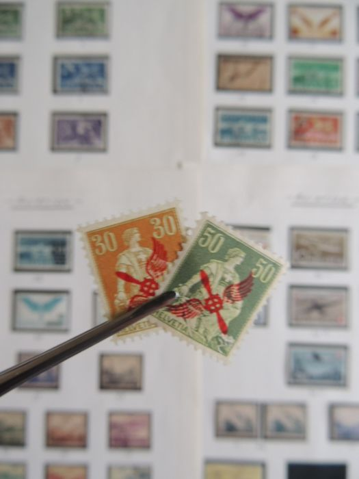 Suiza 1949/1919 - Collection, airmail stamps on sheets between