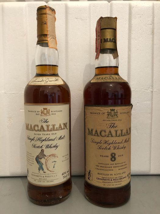 Macallan 7 year old & 8 years old Giovinetti - Original bottling - b. 1980s & 1990s - 70cl - 75cl - 2 botellas