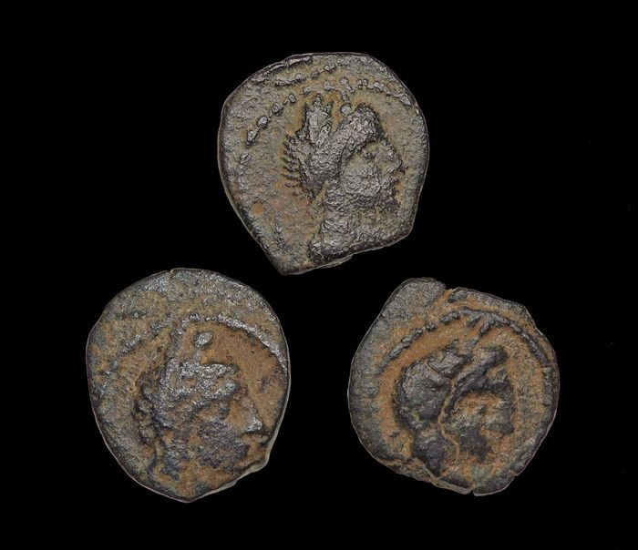 Nabataea - Kings of Petra. Lot of 3 AE coins 9 B.C. to A.D. 40
