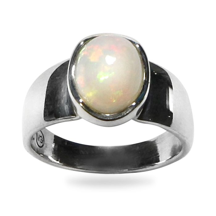 Top Quality Opale Etiope Cabochon Anello argento 925 - 26.5×20.5×12 mm - 5.5 g
