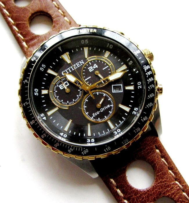 Citizen - Large Dial Tachometer Chronograph Drivers Eco Drive Race Rallye & Oyster Band  - H500-S103657 - Heren - 2011-heden