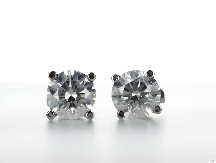 Lilo Diamonds - AIG Certificate - 14 quilates Oro blanco - Pendientes - 2.02 ct D / SI1-SI2 - Diamante