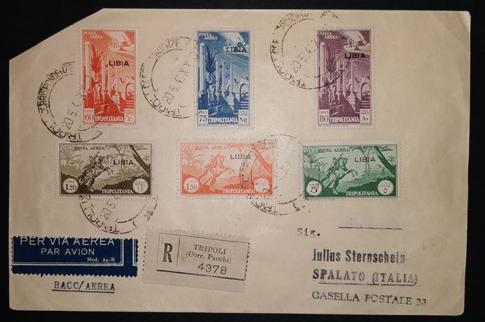 Libia italiana 1942 - Airmail stamps with overprint on set letter from 20.5.1942, circulated to Split - Sassone NN. 45/51
