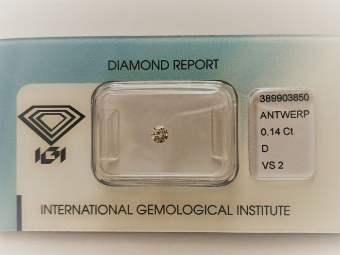 1 pcs Diamant - 0.14 ct - Rond - D (incolore) - VS2