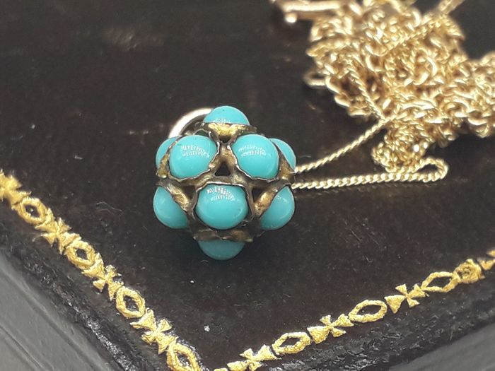 Turquoise Ball Pendant - 9K Or jaune - Collier
