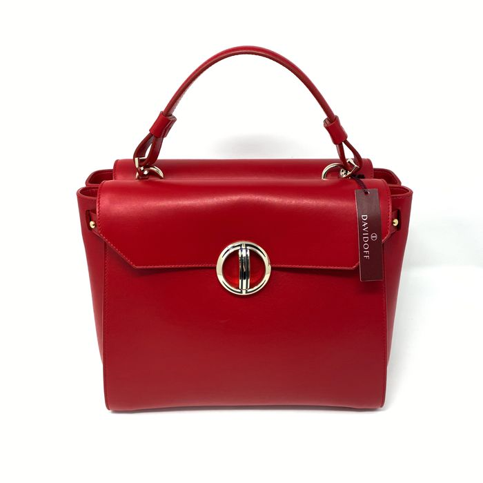 Davidoff - Gina Red Calf Leather Medium Handbag Icon Collection Model 22397 Sac à main