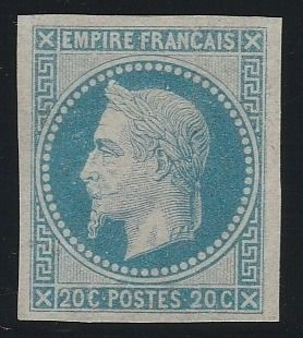 Francia 1867 - Napoleon lauré 20 centimes, Rothschild reprint, imperforate. - Yvert N°29Ab