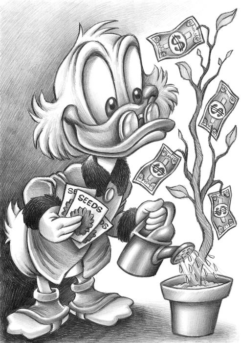 Uncle $crooge Watering Money - AP Signed Giclée - Joan Vizcarra - First edition