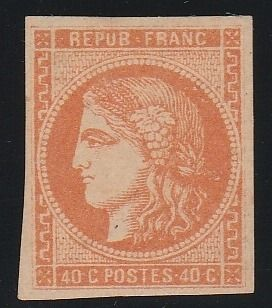 Francia 1870 - Ceres, 40 centimes, Bordeaux issue, signed Calves. - Yvert N°48